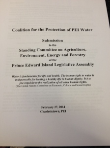 Submission from the Coalition for the Protection of PEI's Water
